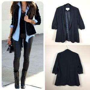 bar lll ruched sleeve open front blazer black